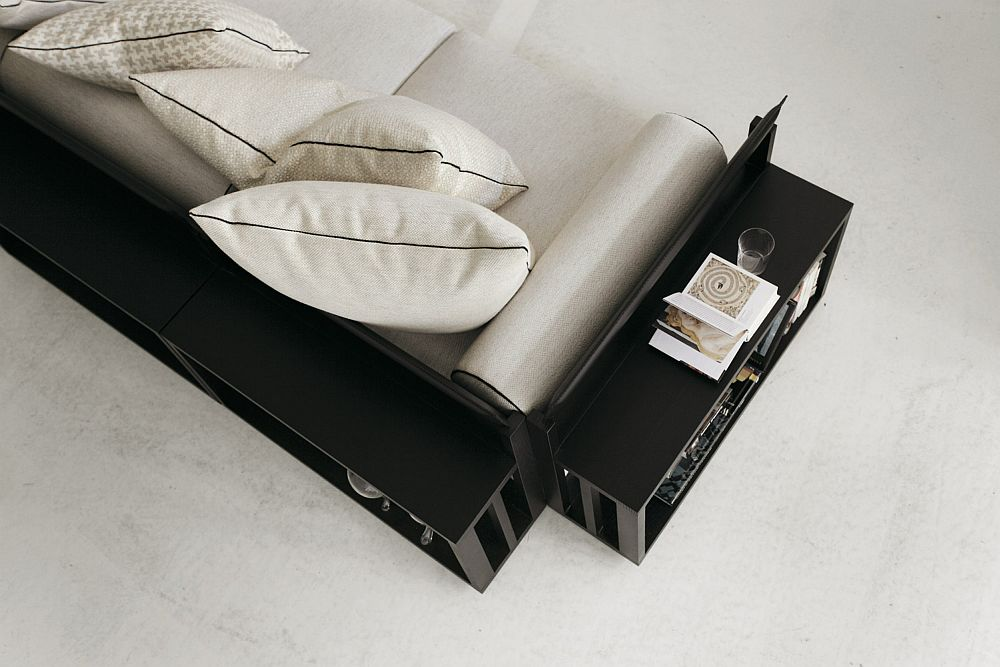 Sleek modular sofa with bookshelves and storage space