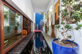 Slim, lap pool brings the charm of tropical landscape indoors