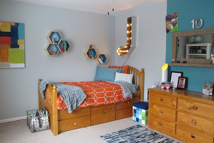 Small hexagonal shelves can make a big difference to the modest kids' room [Design: Your Favorite Room By Cathy Zaeske]