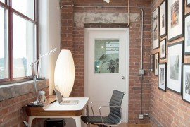 Small home office with iconic Airia Desk and the Bubble Lamp