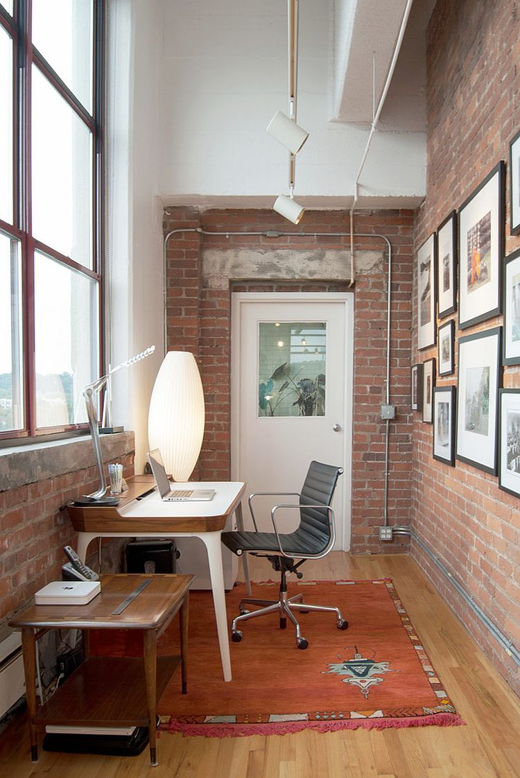 Small home office with iconic Airia Desk and the Bubble Lamp [Design: Adrienne DeRosa]