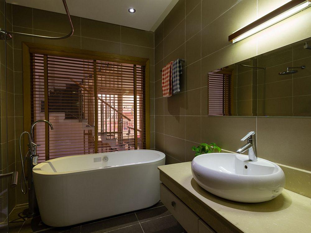 Small modern bathroom with a gorgeous freestanding bathtub