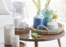 Soothing blue and white vases from Crate Barrel 217x155 Vacation Home Style: 3 Relaxing, Refreshing Trends