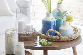 Soothing blue and white vases from Crate & Barrel