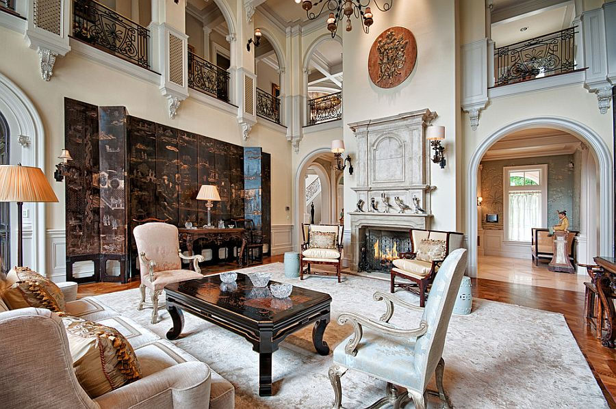 Spacious, double-height living room with modern Victorian style [From: Marilynn Kay Photography]