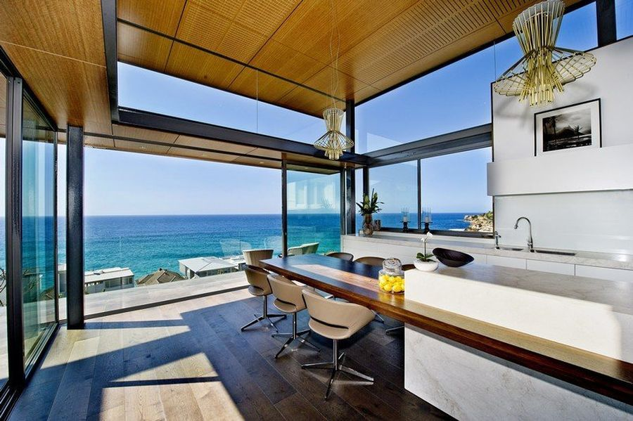 Spacious kitchen of luxury Sydney house with ocean views [Design: Rolf Ockert Architects and Designers]
