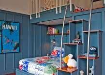 Staggered steps also double as cool shelving in the tropical kids' bedroom