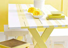 Stenciled picnic table style 217x155 Embrace the Relaxed Style of Indoor Picnic Tables
