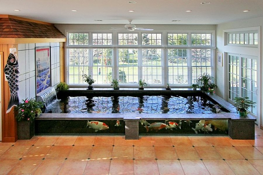 Oriental inspiration asian style sunrooms bring light for Indoor koi pond ideas
