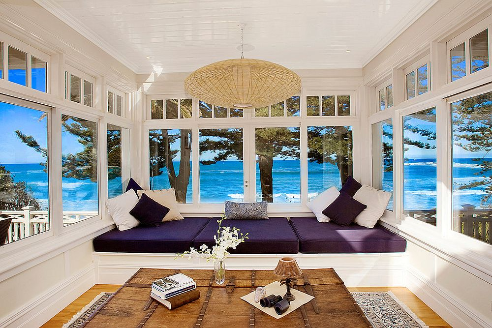 Sunroom in Sydney home brings the ocean indoors with its open design [From: Ryan Lahiff Photography]