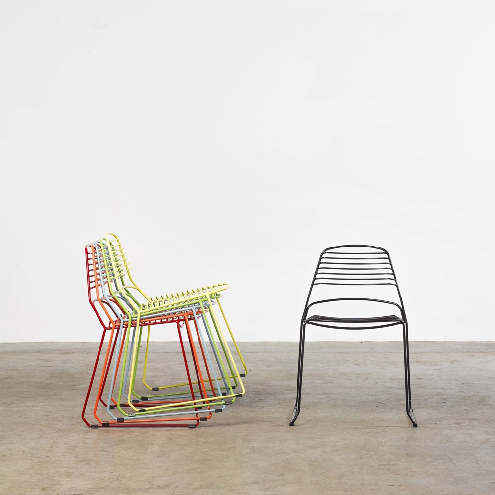 Designed by Justin Hutchinson, the Jak Chair is a wiry and flirty seat about town.