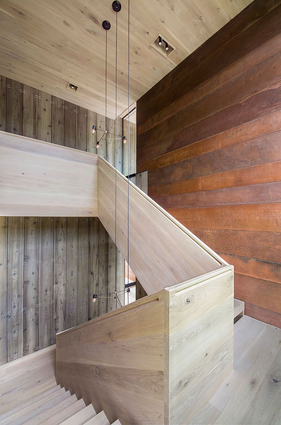 Tapered thickness of stairs as you move upwards gives them a unique acoustic quality