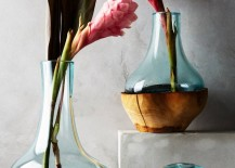 Teak and glass vases from Anthropologie