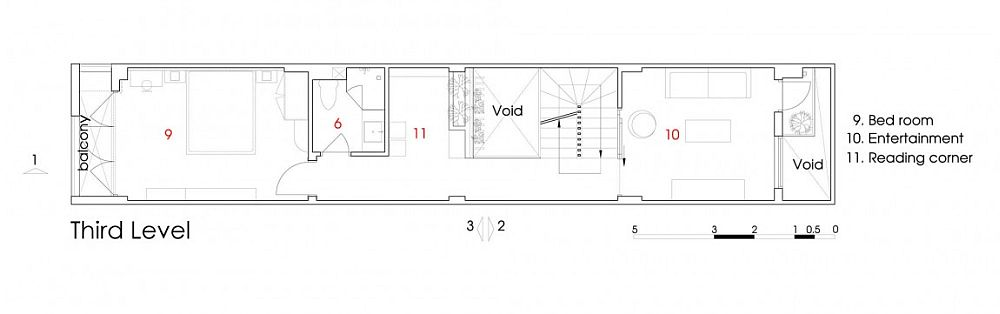 Third level floor plan of Ho Chi Minh City residence