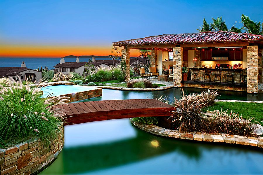 View In Gallery Throw In A Bridge And Pool House To Complete That Perfect,  Rejuvenating Poolscape [Design