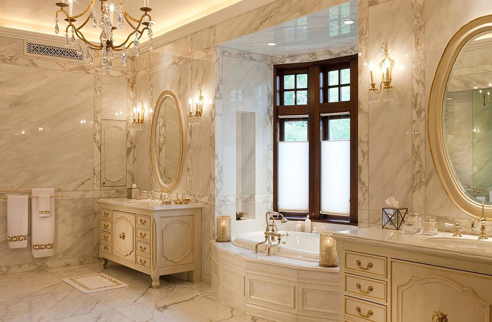 Traditional bathroom design for a lavish ranch house