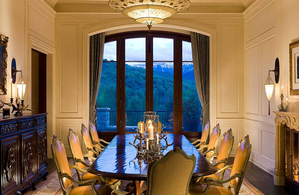 Traditional, formal dining room with a view of the distant mountains
