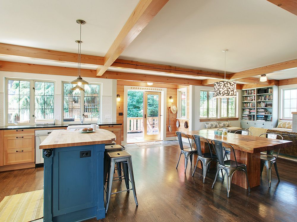 Traditional kitchen and dining space brings together the Marais A chairs and bar stools [Design: J.A.S. Design-Build]