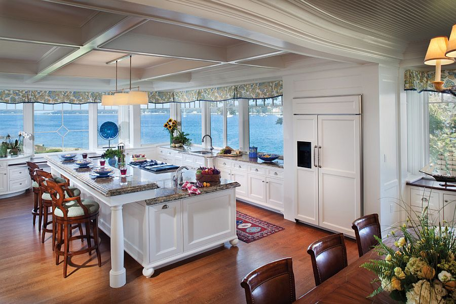 traditional kitchen with ocean view and an island with