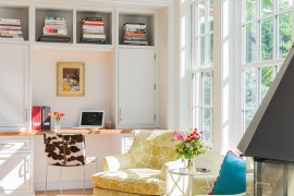 Transitional home office with a cheerful ambiance