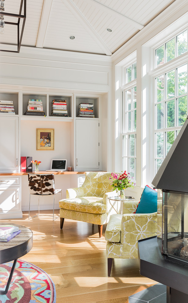 Transitional home office with a cheerful ambiance [Design: Venegas and Company]