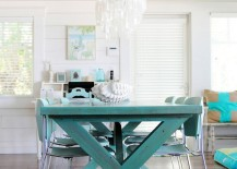 Trestle table with picnic table style