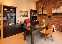 Turn the lone brick wall in your home office into a gorgeous gallery wall