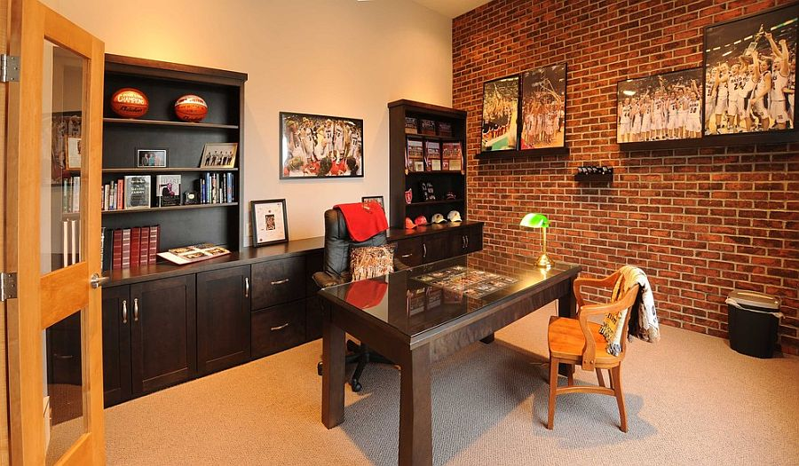 office feature wall ideas. Turn The Lone Brick Wall In Your Home Office Into A Gorgeous Gallery [From Feature Ideas