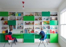 Two fold-down desks for two children