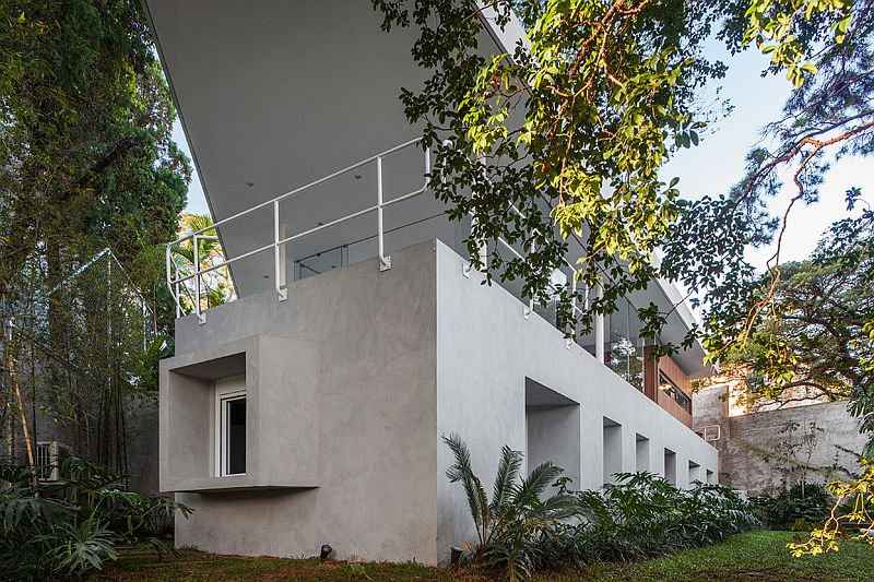Unique design and facade of the concrete home in Brazil