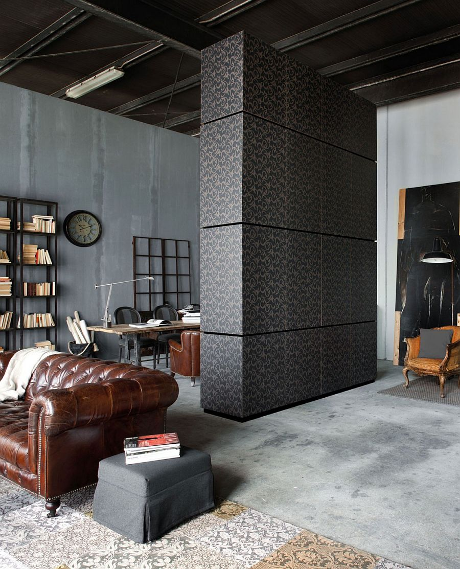 Unique design of Milan apartment combines contemporary and traditional elements Loft Minacciolo: Cutting Edge Design Solutions Wrapped in Dark, Dramatic Panache