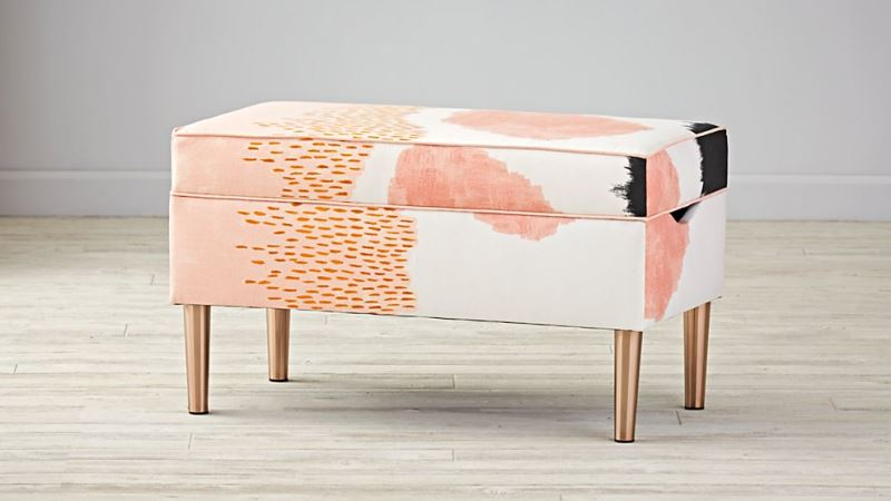 Upholstered storage bench from The Land of Nod