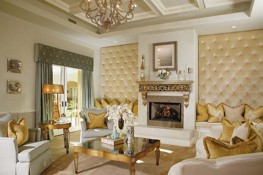 Upholstered walls in the comfy living room with golden charm [Design: Guided Home Design]