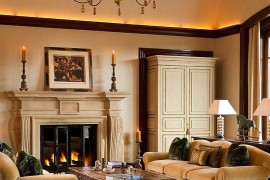 Uplighting in the family room creates a classy ambiance
