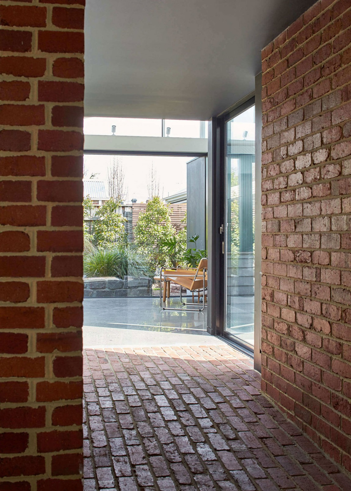 Use of glass doors brings in ample natural light