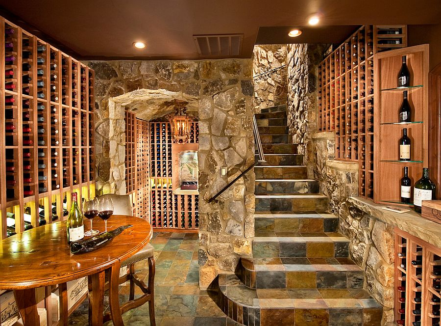 ... Use of stone gives the wine cellar a more classic appeal [Design: KGA  Studio