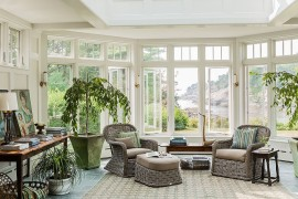View outside steals the show in this beautiful sunroom