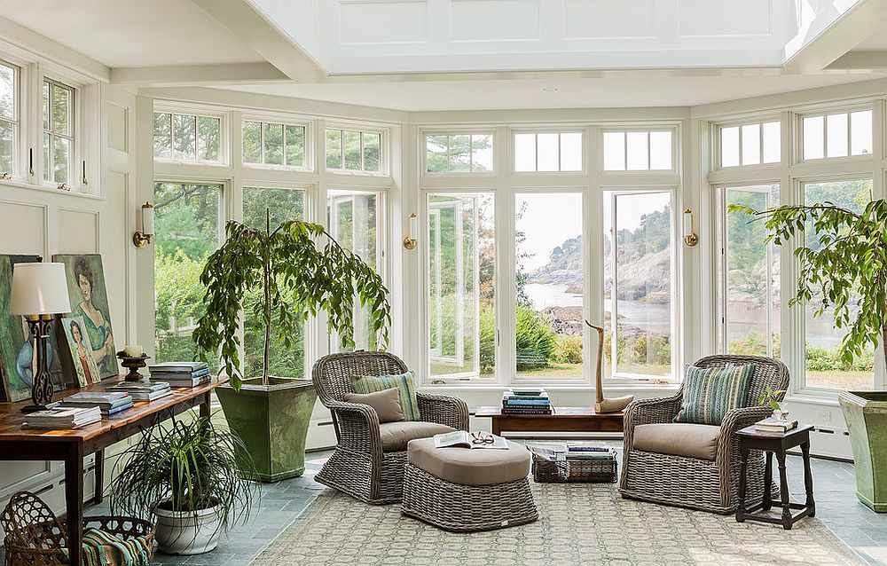 ... View outside steals the show in this beautiful sunroom [Design Carpenter u0026 MacNeille / & 25 Cheerful and Relaxing Beach-Style Sunrooms