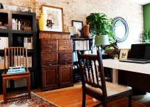 Vintage file cabinet is the showstopper in this eclectic home office