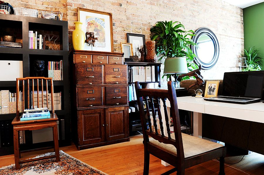 Vintage file cabinet is the showstopper in this eclectic home office [Design: SuzAnn Kletzien Design]