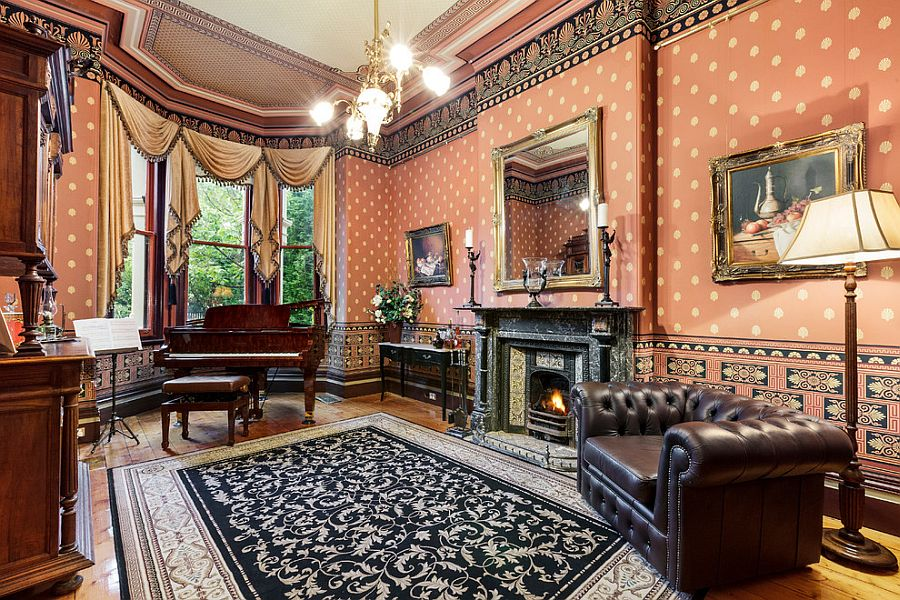 Wallpaper and rug bring plenty of pattern to the living room Feast for the Senses: 25 Vivacious Victorian Living Rooms