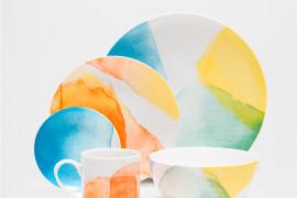 Watercolor porcelain dinnerware from Zara Home
