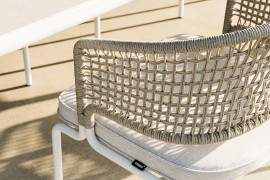 Weather-resistant Tricord weave creates a comfy backrest for the Contour chair