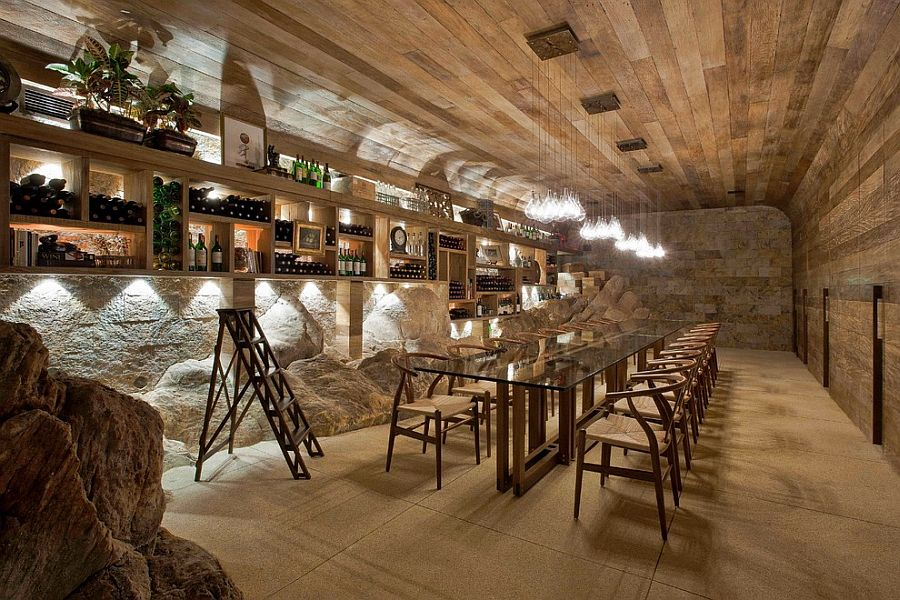 Wine cellar and a more expansive tasting room [Design: Eduarda Correa Arquitetura & Interiores]