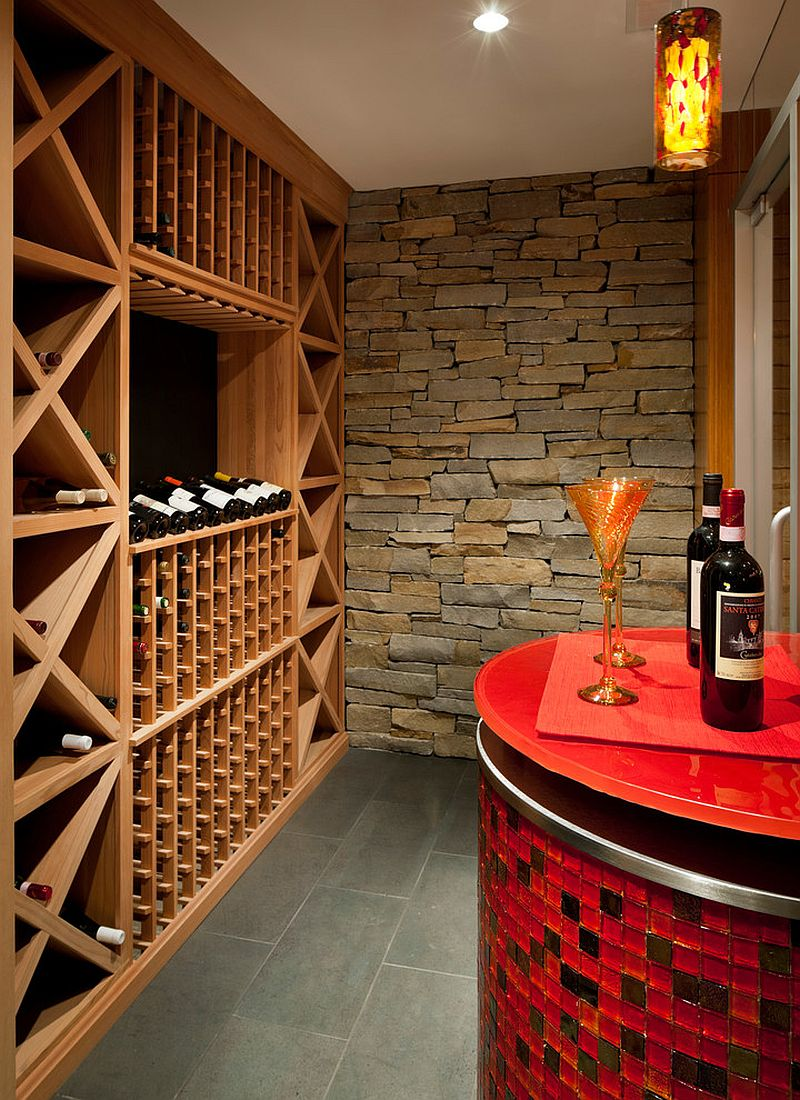 Wine tasting area with a splash of red