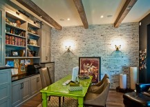 Workdesk adds color to the contemporary home office with brick wall 217x155 Trendy Textural Beauty: 25 Home Offices with Brick Walls