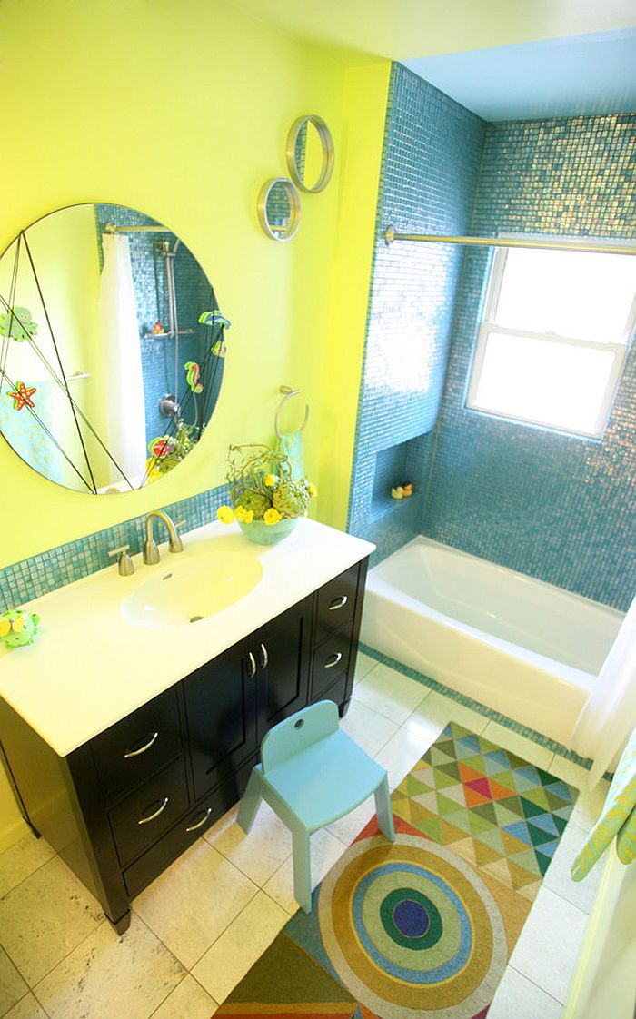 trendy twist to a timeless color scheme bathrooms in blue and yellow. Black Bedroom Furniture Sets. Home Design Ideas