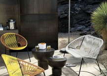 Yellow and tan lounge chairs from CB2