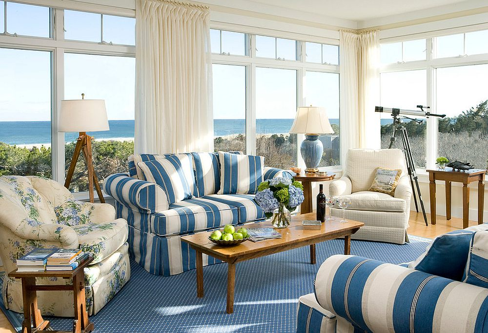 You can never go wrong with blue and white stripes in a beach style setting 25 Cheerful and Relaxing Beach Style Sunrooms