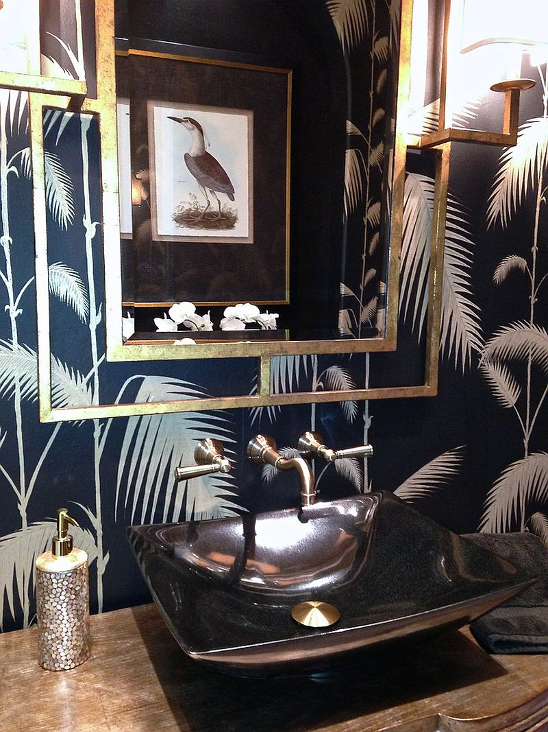A hint of metallic glint for the tropical powder room
